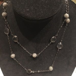 Lia Sophia Hematite Tone cut crystal necklace
